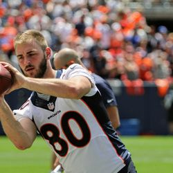 Even though he was limited, Broncos TE Jake Butt, still participated in many drills.