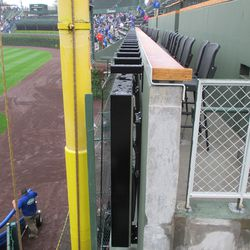 View of suspension and guard screen, right-field ribbon board -