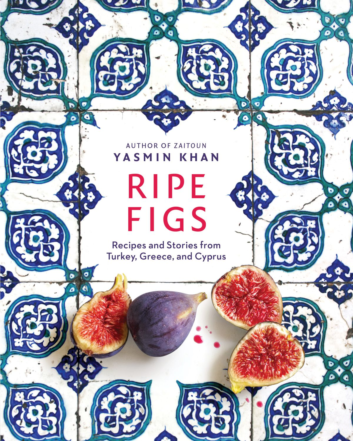 "Figs cut in half on top of blue and white tiles adorn the cover of ""Ripe Figs"""