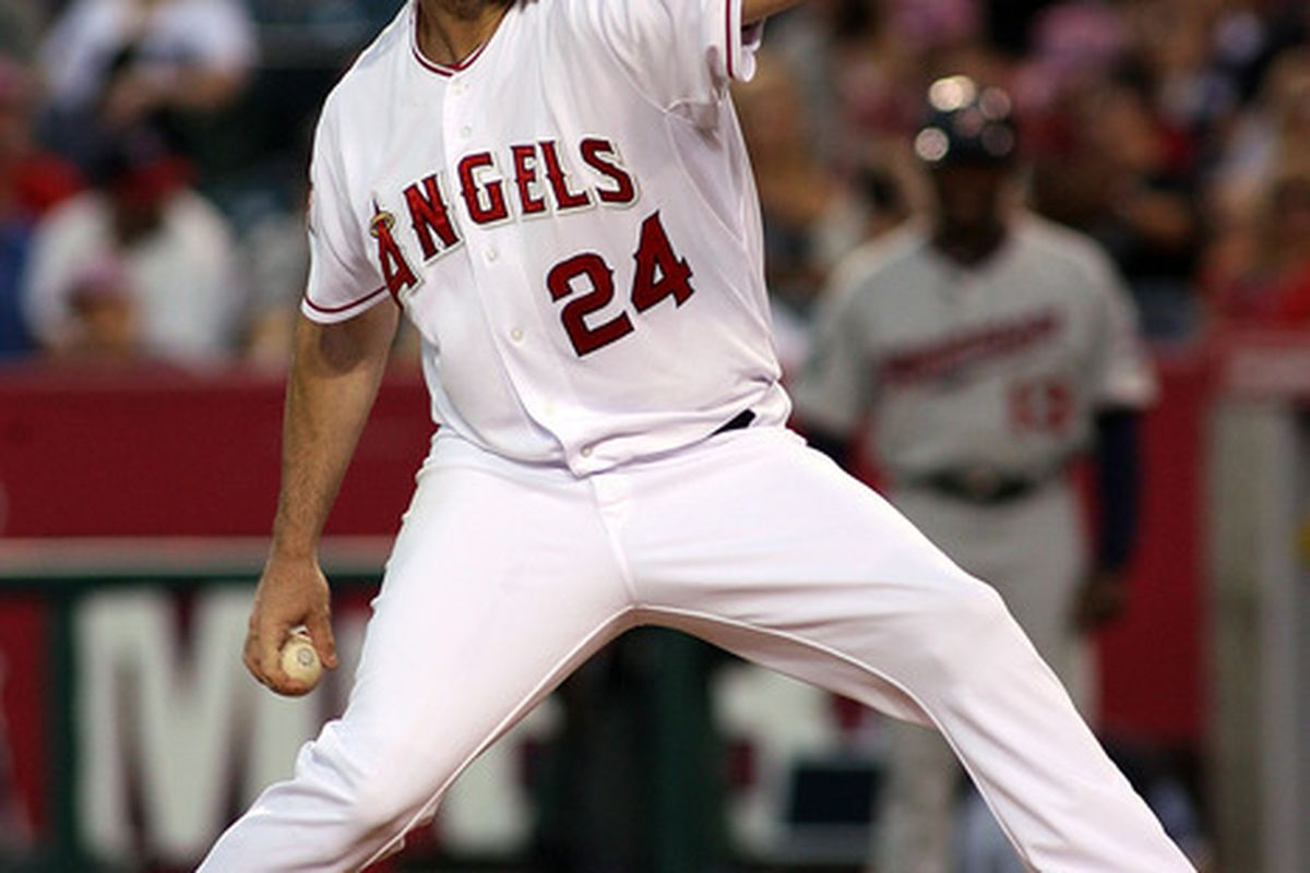 ANAHEIM, CA – AUGUST 04:  Dan Haren #24 of the Los Angeles Angels of Anaheim pitches against the Minnesota Twins in the third inning of the game at Angel Stadium on August 04, 2011 in Anaheim, California.  (Photo by Jeff Golden/Getty Images)
