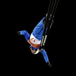 Madison Olsen, of the United States, jumps during the women's freestyle aerial final at Phoenix Snow Park at the 2018 Winter Olympics in Pyeongchang, South Korea, Friday, Feb. 16, 2018.