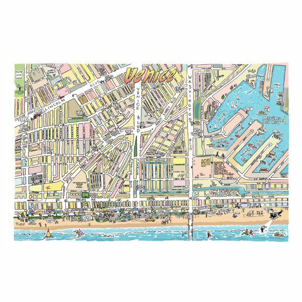 colorful hand-drawn map of Venice Beach, California