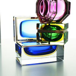 Murano glass and brass boxes, $550, $595 and $1,185