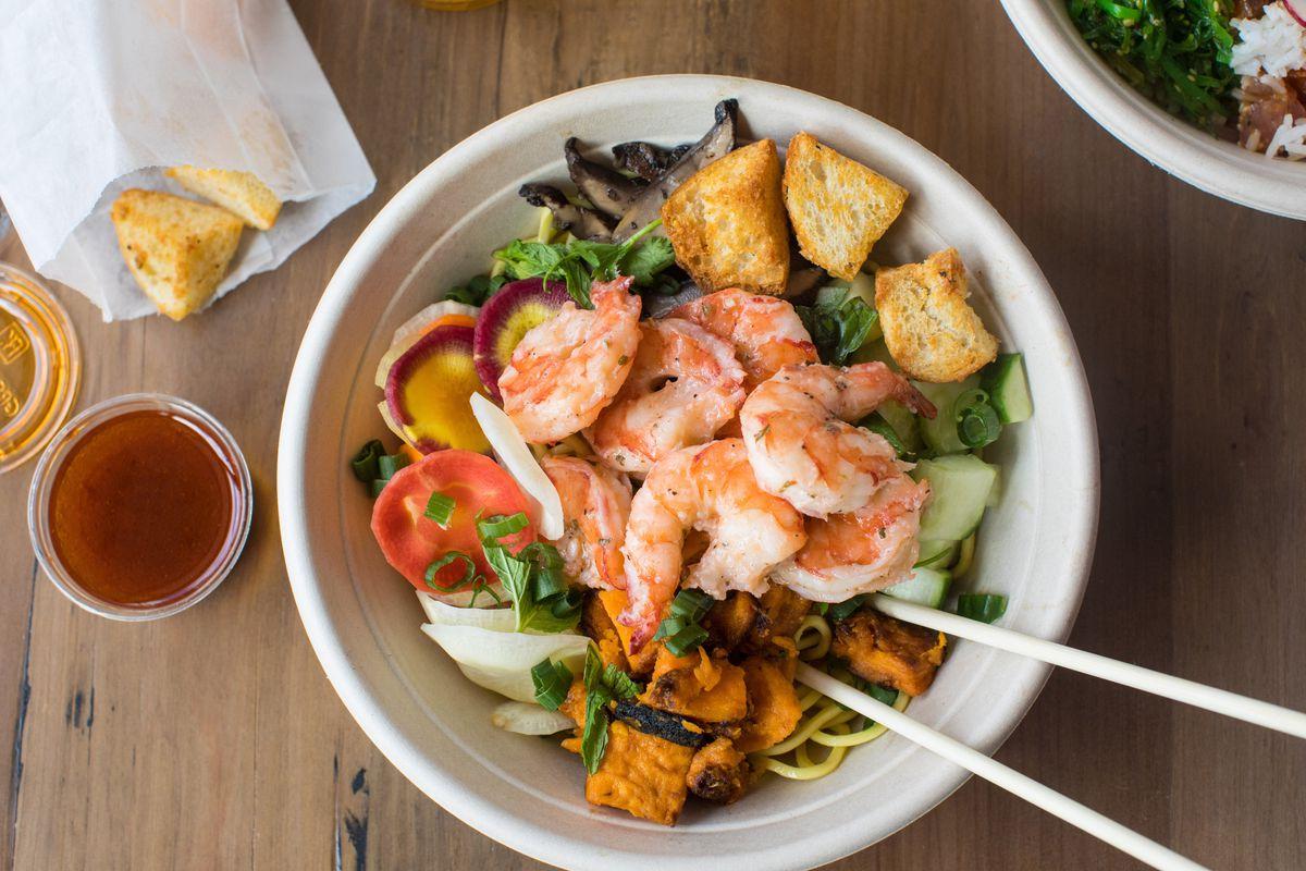 """""""Noodle It Over Shrimp"""" bowl at Legal Fish Bowl"""