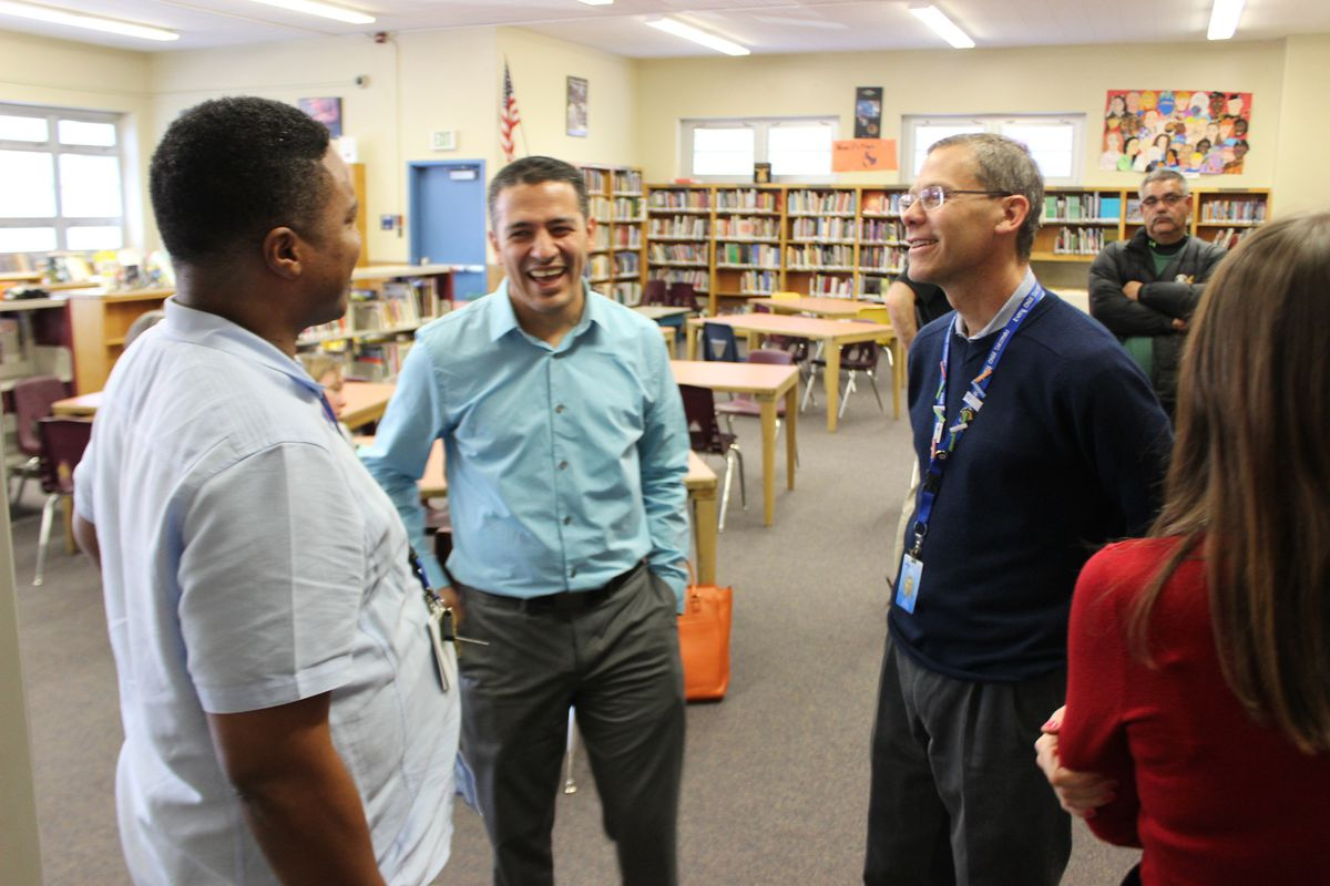 Teacher leader initiatives are a focus  not only in Tennessee, but nationwide. Here, Denver teacher-leaders talk to Denver Public Schools superintendent  Tom Boasberg at an event announcing the expansion of the district's teacher leadership program.
