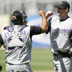 Webb and Johnny Estrada celebrate their victory over the Oakland Athletics at McAfee Coliseum on July 2, 2006. Webb pitched a complete game as the Diamondbacks defeated the A's 3-1