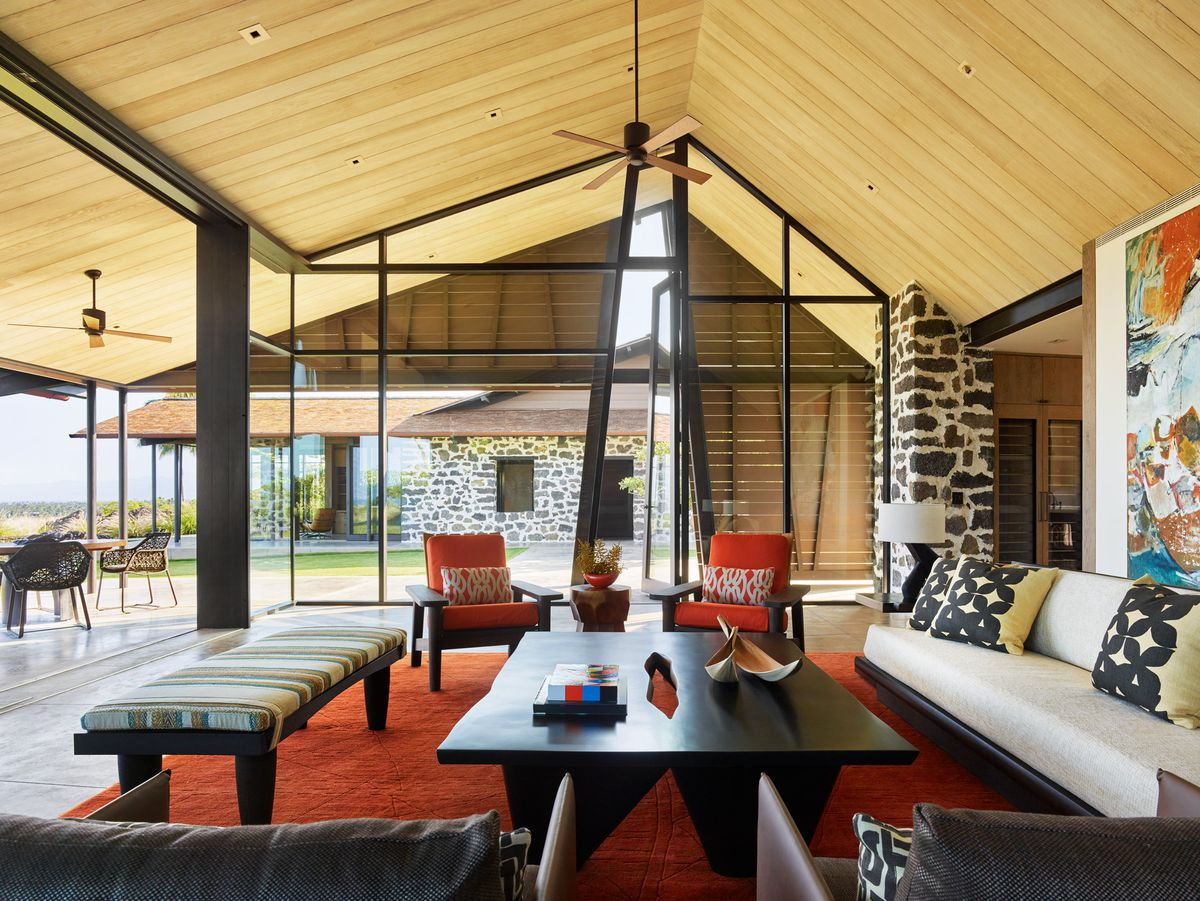 Living room with timber cathedral ceiling