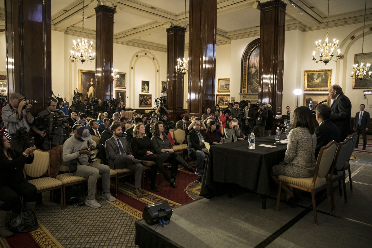 Attorney Thomas Demetrio addresses a packed news conference at the Union League Club in April 2017 about the incident earlier that month involving the removal of Dr. David Dao from a United Airlines flight at O'Hare International Airport. Among those appearing with Demetrio at the news conference was Dao's daughter, Crystal Dao (seated at end of table, right foreground).