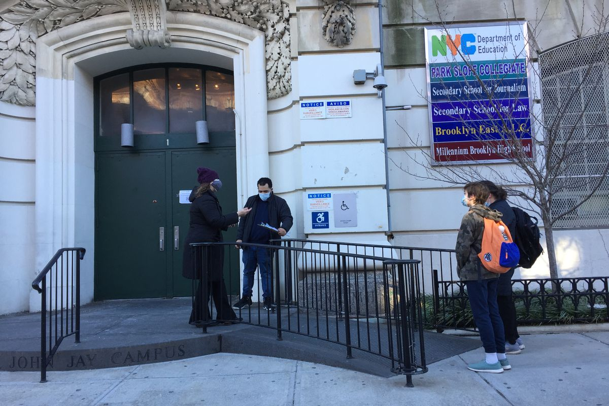 NYC high schools will welcome back students on March 22. Brooklyn's Park Slope Collegiate, which shares a building with several high schools, welcomed its middle schoolers back on Feb. 25.