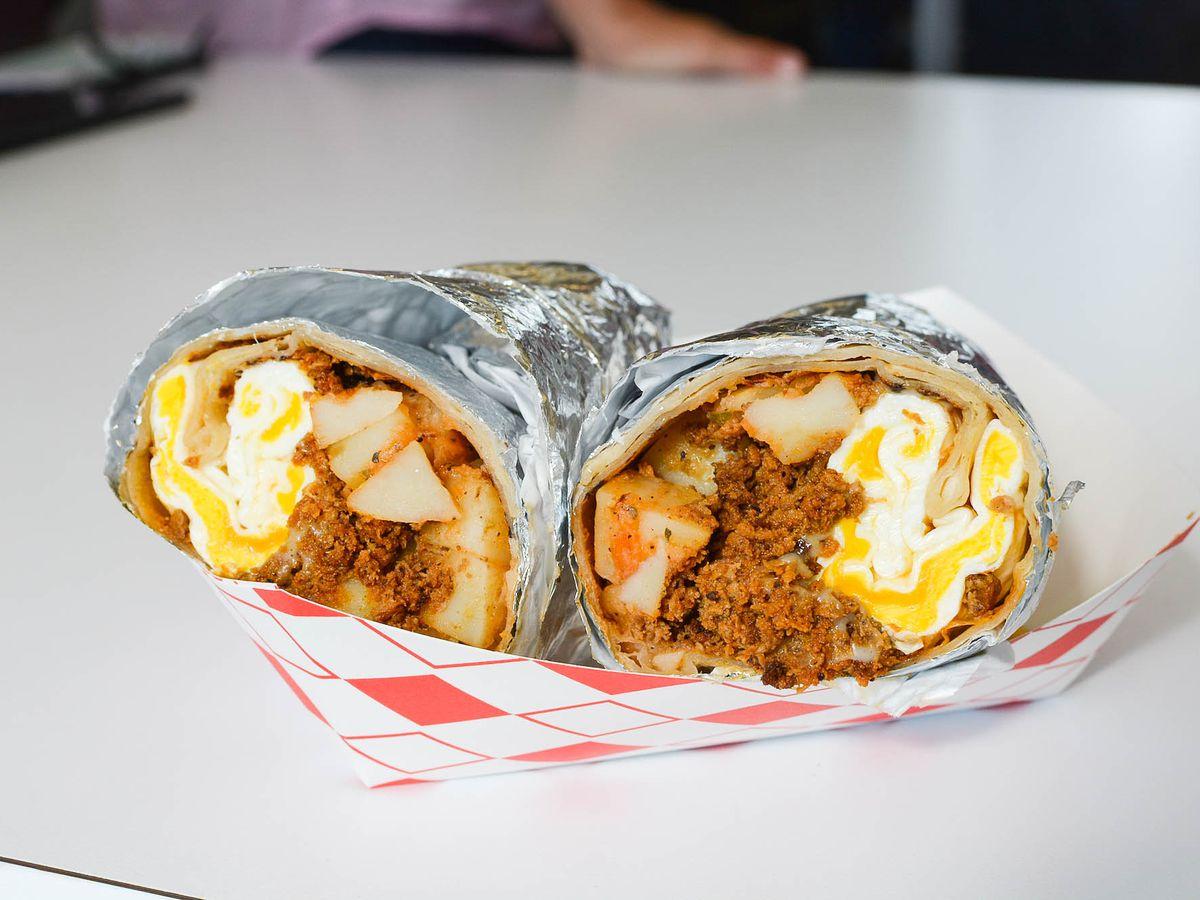 Chorizo breakfast burrito from The Chori-Man.