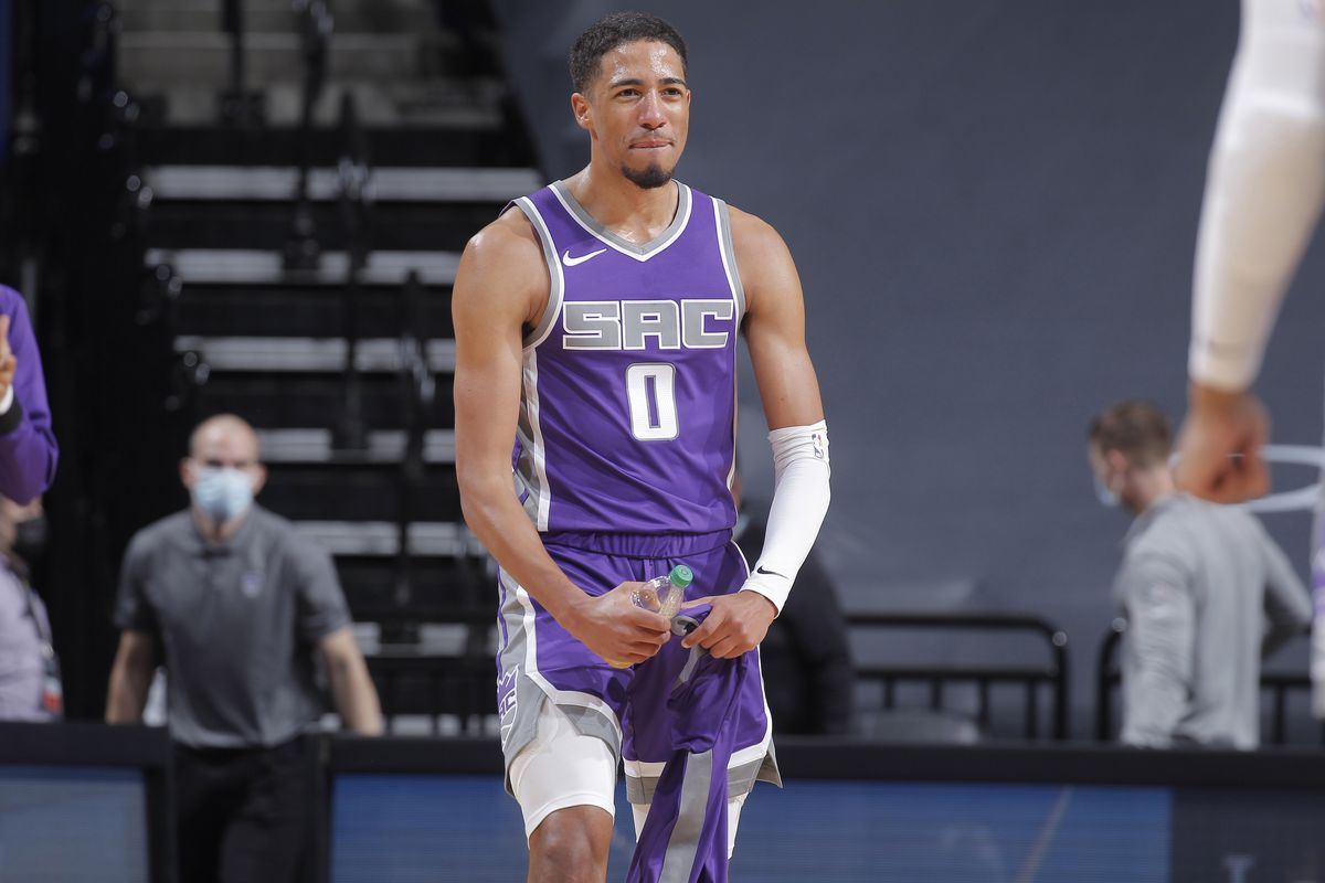 Tyrese Haliburton of the Sacramento Kings reacts during the game against the Denver Nuggets on December 29, 2020 at Golden 1 Center in Sacramento, California.