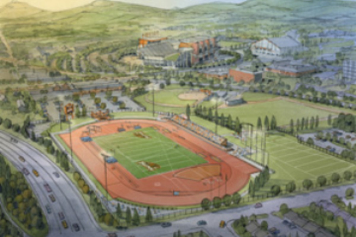 Artist's rendition of what the Oregon St. Track and Field facility might look like.