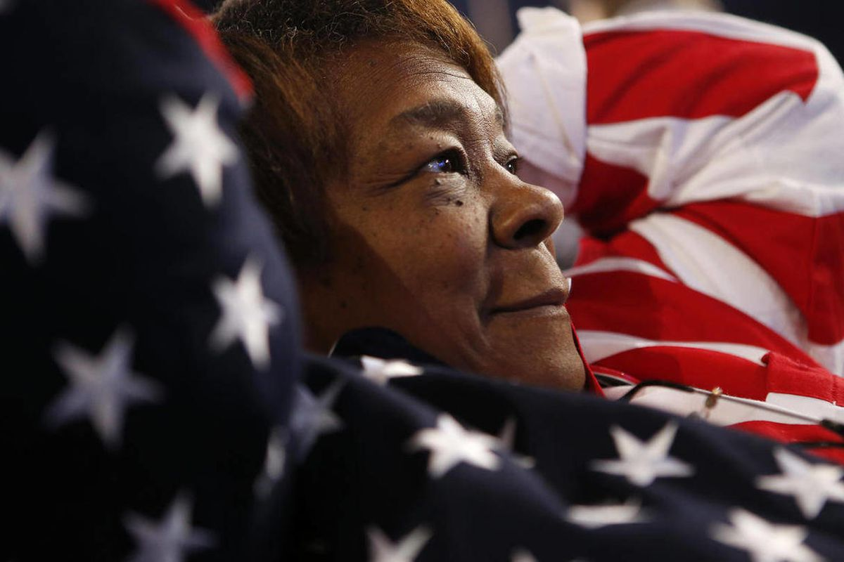 Iowa delegate Alice Boyd wears an American flag themed outfit at the Democratic National Convention in Charlotte, N.C., on Thursday, Sept. 6, 2012.