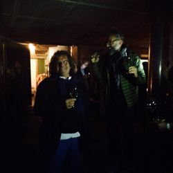 Massimo Bottura singing to Fulvio Pierangelini