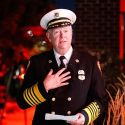 Unified Fire Authority Chief Dan Petersen speaks during the Light the Nightceremony at Unified Fire Station 124 in Riverton on Monday, Sept. 28, 2020.