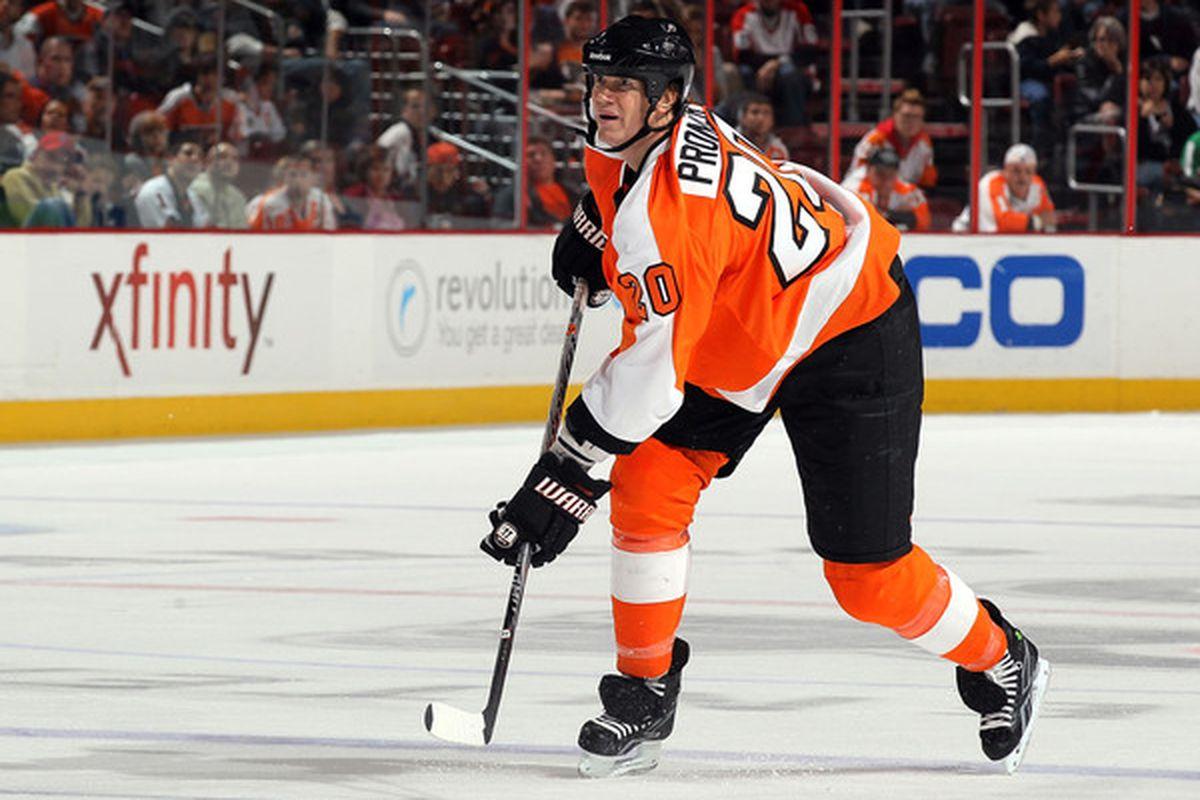 PHILADELPHIA - OCTOBER 21:  Chris Pronger #20 of the Philadelphia Flyers skates against the Anaheim Ducks on October 21 2010 at Wells Fargo Center in Philadelphia Pennsylvania.  (Photo by Jim McIsaac/Getty Images)