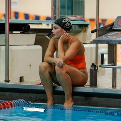 An Evanston swimmer listens to instructions during practice on August 19, 2020.