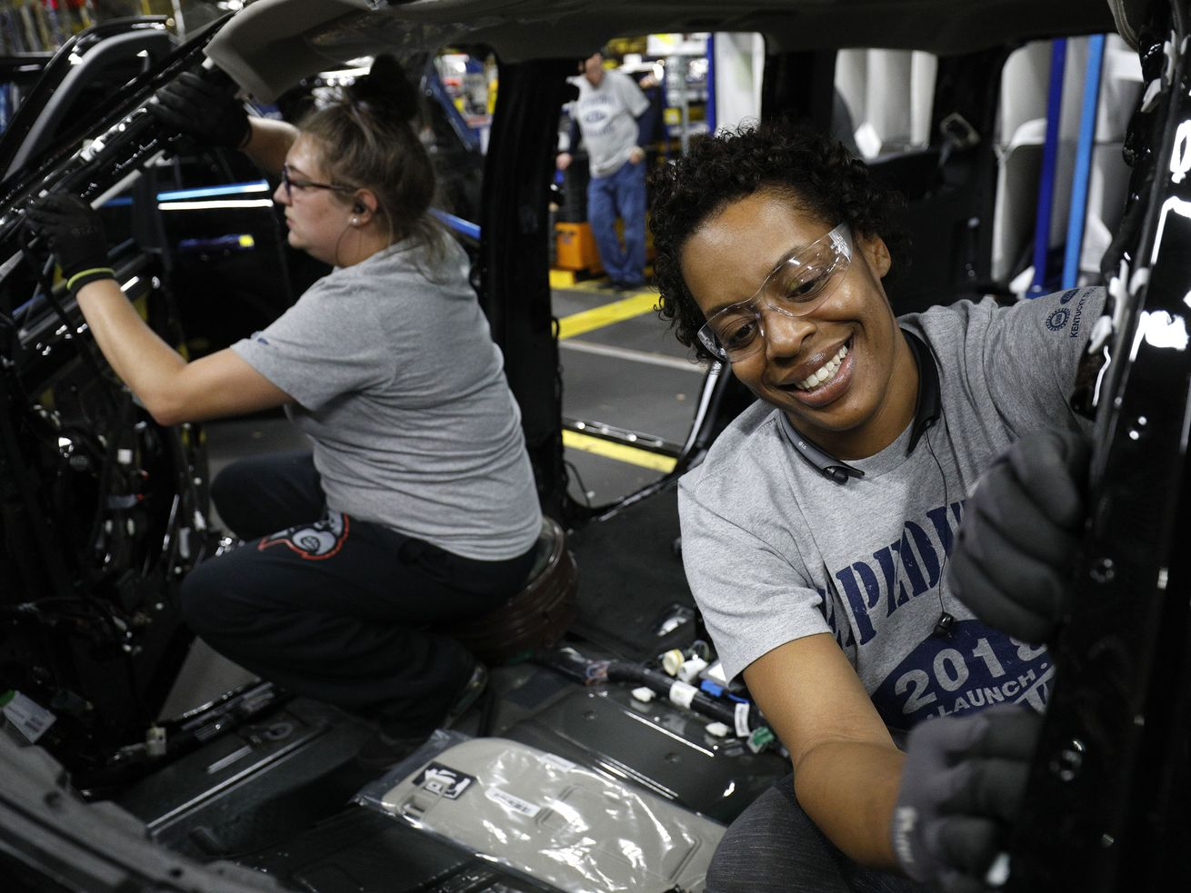 Workers at the Ford Kentucky Truck Plant in 2017.
