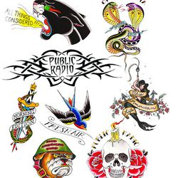 "NPR temporary tattoos, <a href=""http://shop.npr.org/public-radio-temporary-tattoos"">$12.</a> Image credit: NPR"