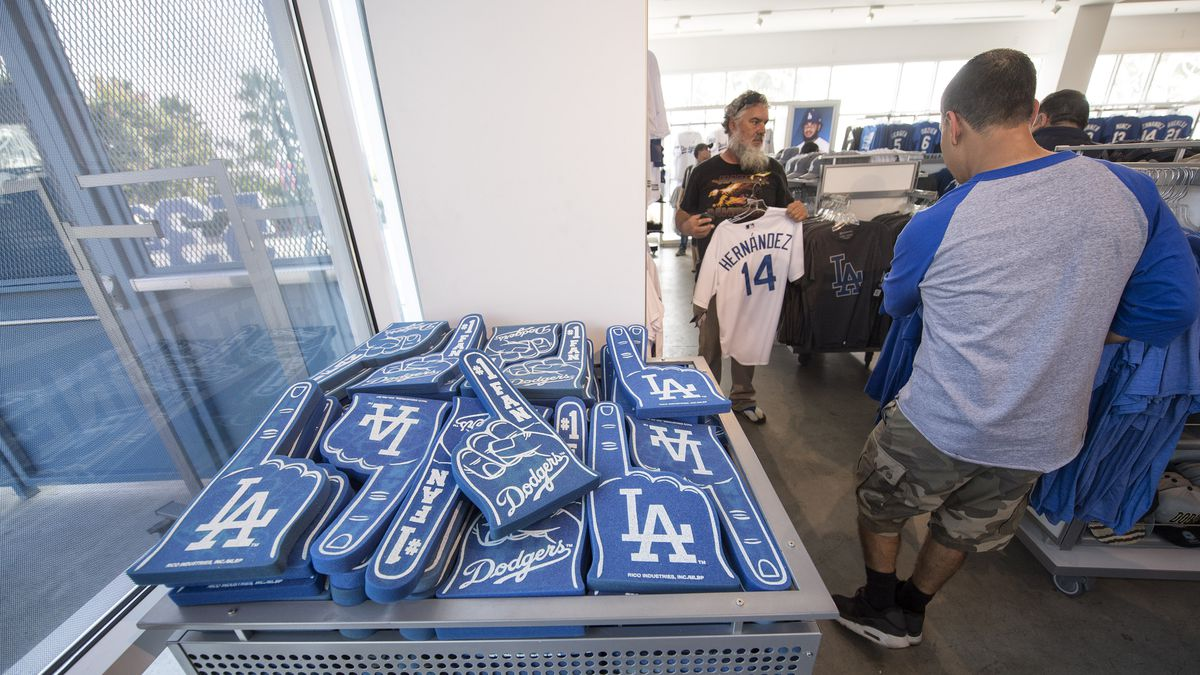 People shop for Los Angeles Dodgers merchandise