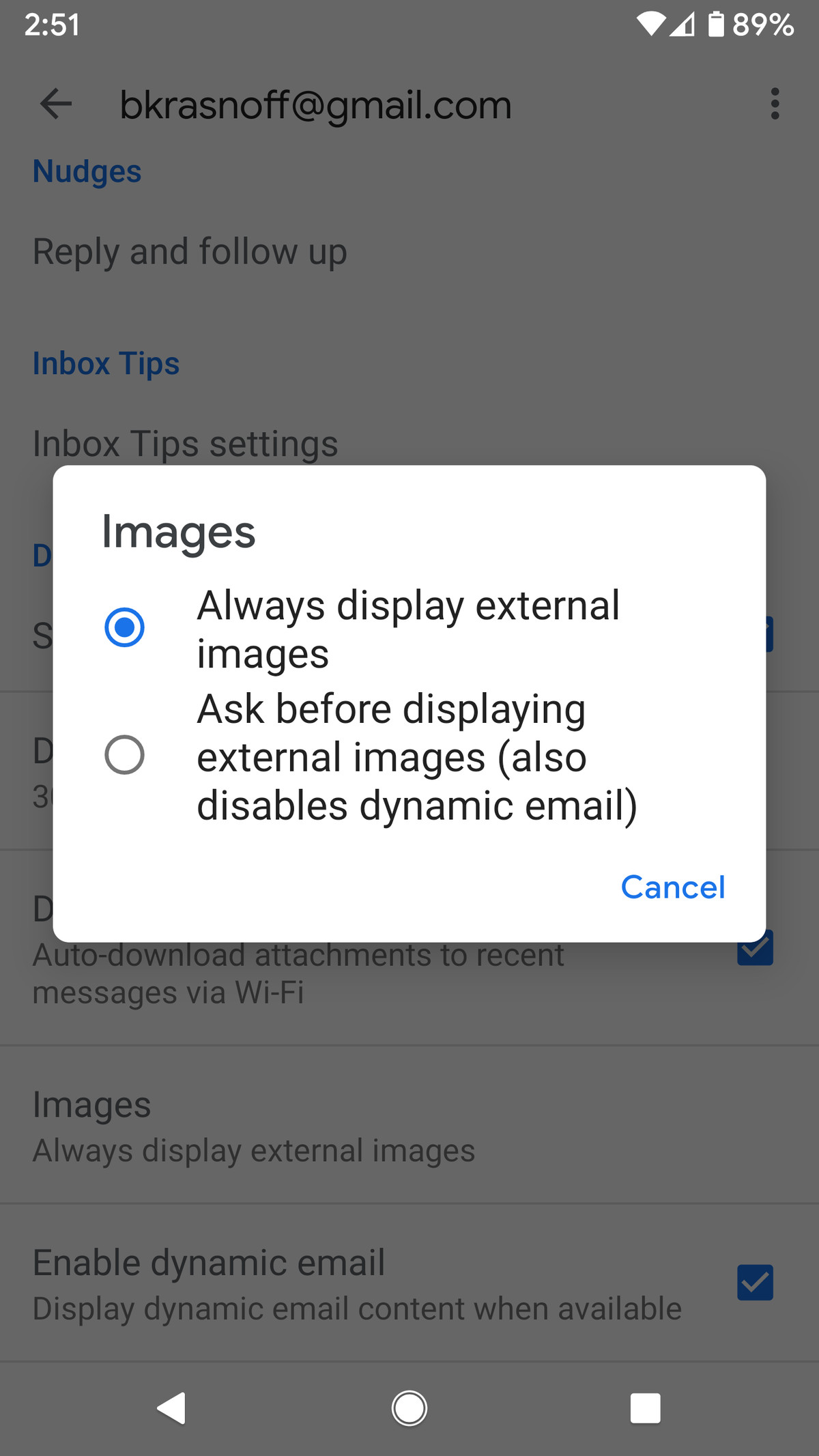 """Select """"Ask before displaying external images."""""""