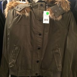 Coyote fur bomber, size XXS, $179 (was $895)