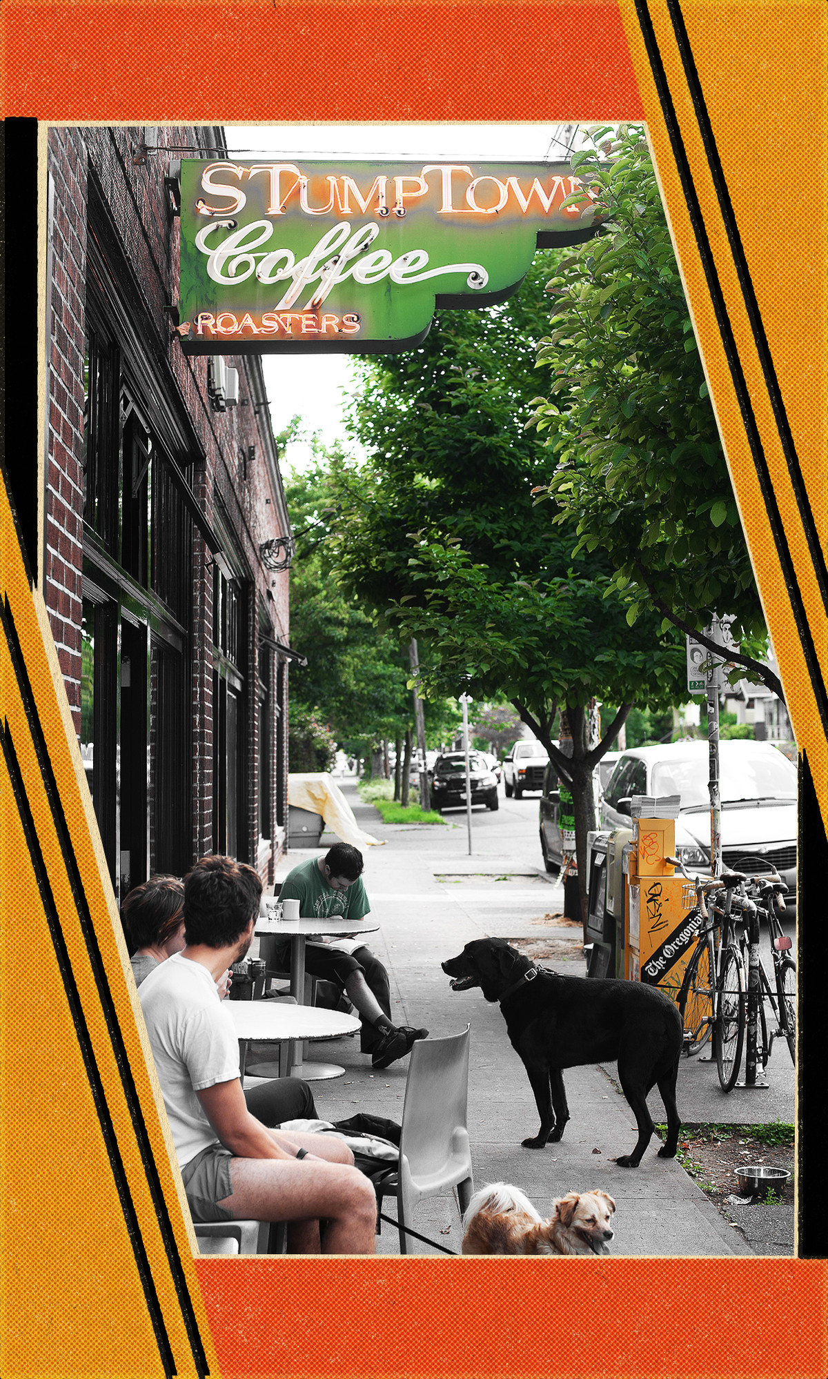"""People sit at white tables outside a cafe with dogs. An old-fashioned green, red, and white sign reads """"Stumptown coffee"""""""