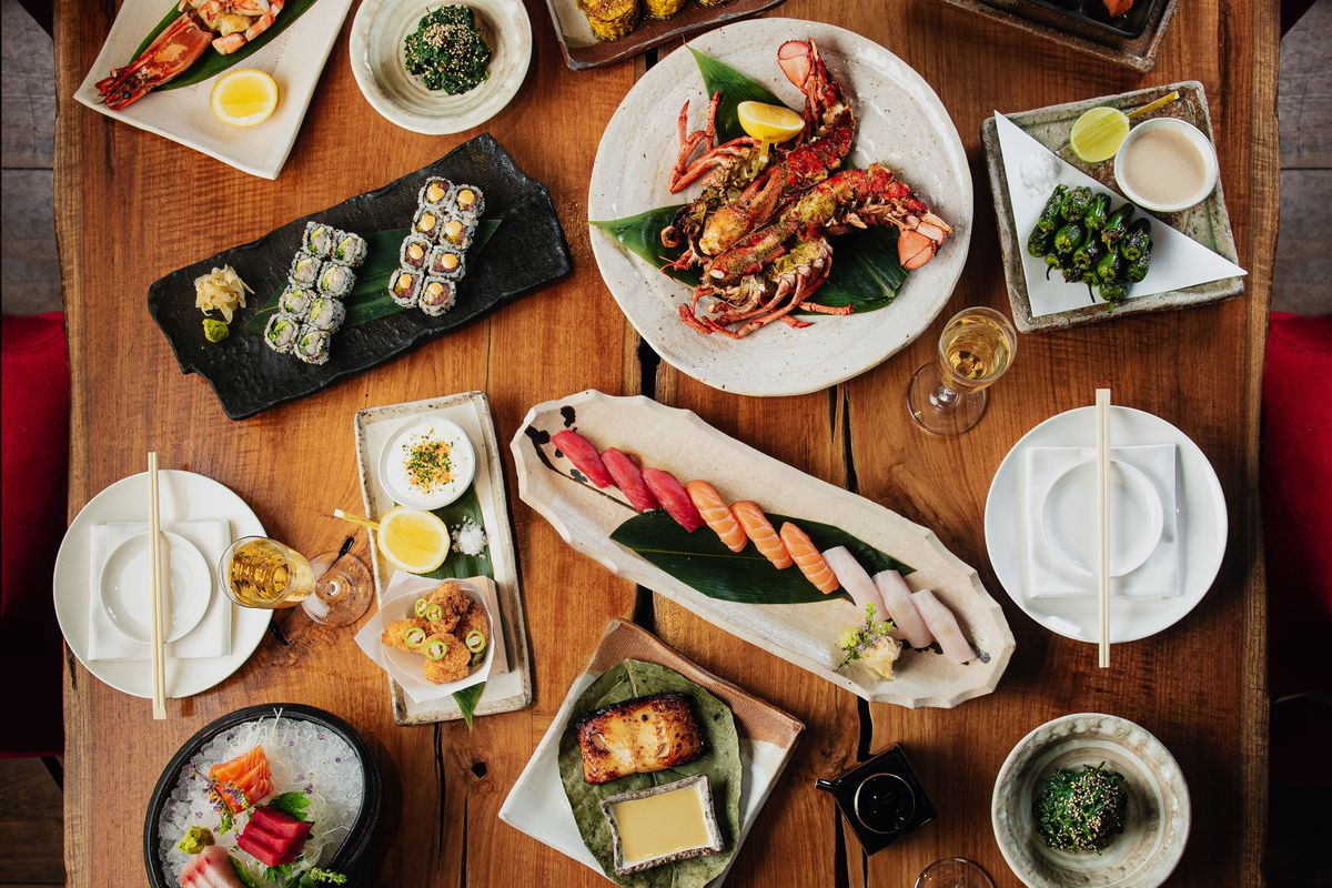 A variety of brunch dishes shot from overhead