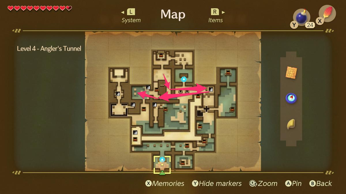 Link's Awakening Angler's Tunnelpath to the Nightmare Key