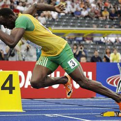 Jamaica's Usain Bolt starts a Men's 200m 2nd round heat during the World Athletics Championships in Berlin on Tuesday.