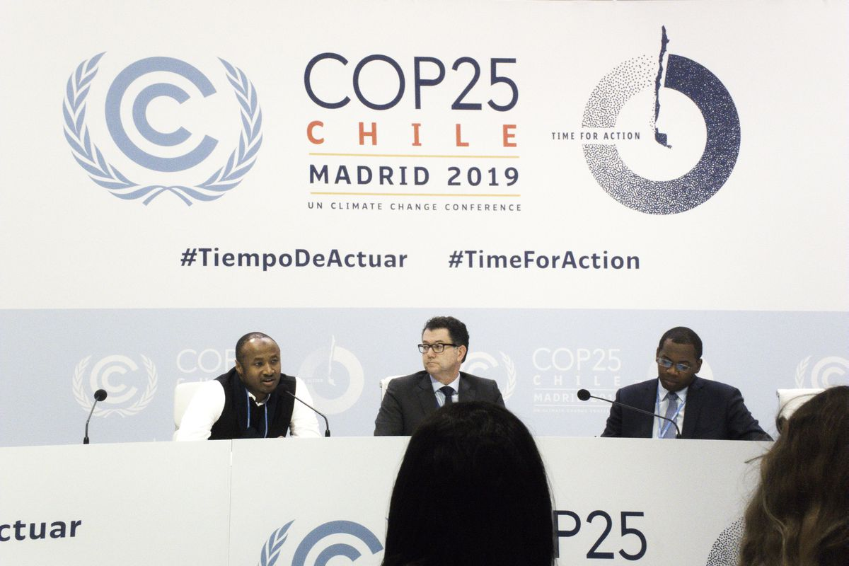 Seyni Nafo (left), Mohamed Nasr (center), Tanguy Gahouma (right) representing African countries at COP25, the UN climate meeting in Madrid, Spain.