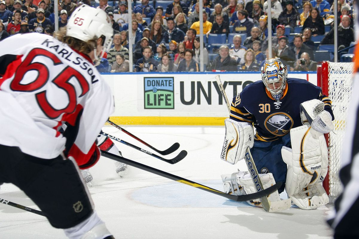 Erik Karlsson led all NHL players in votes. Ryan Miller did not. (Photo by Dave Sandford Getty Images)