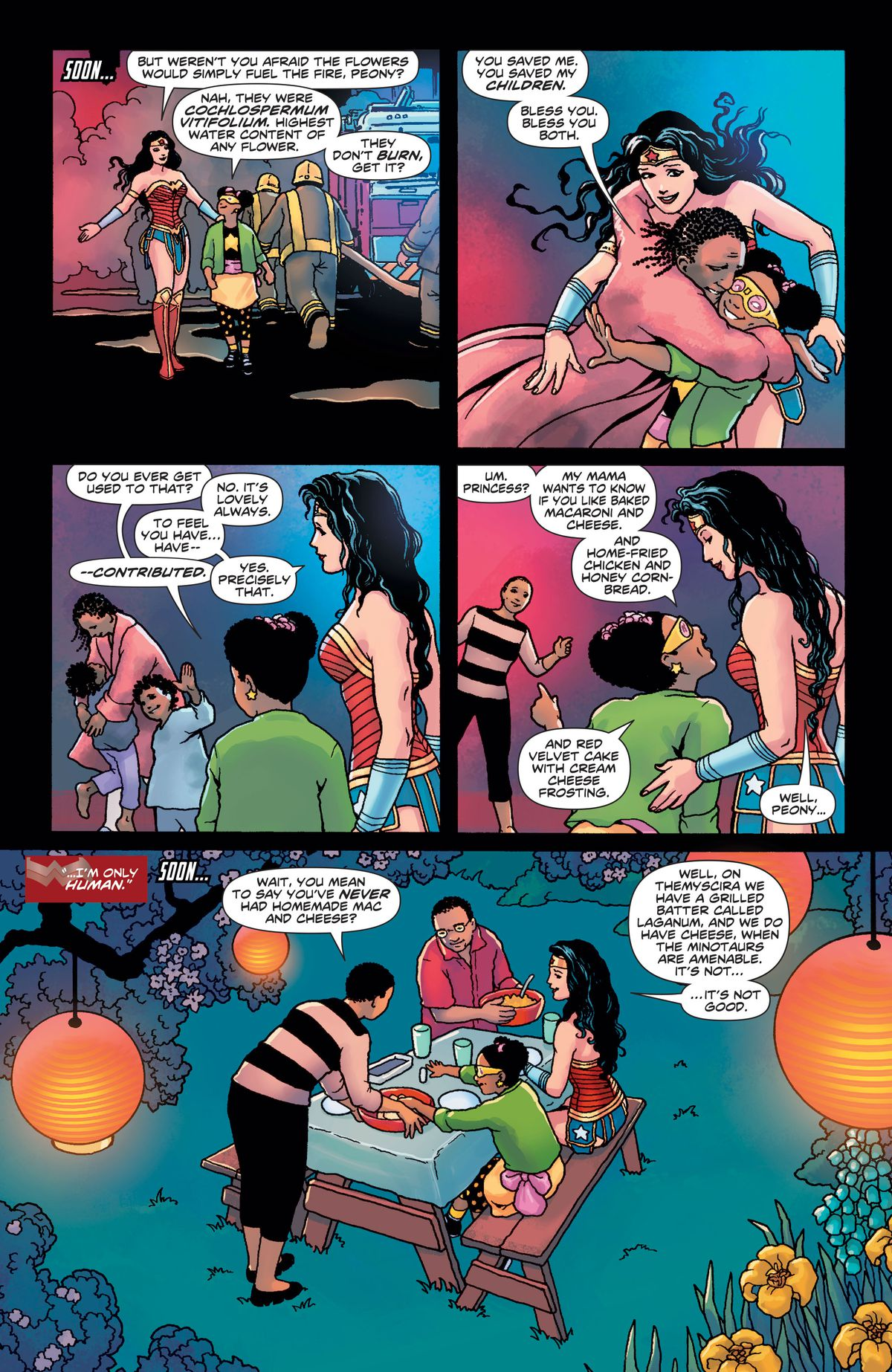 After their victory over the apartment fire, Star-Blossom introduces Wonder Woman to her mother, who invites the Amazon over for dinner, in Wonder Woman #750, DC Comics (2020).