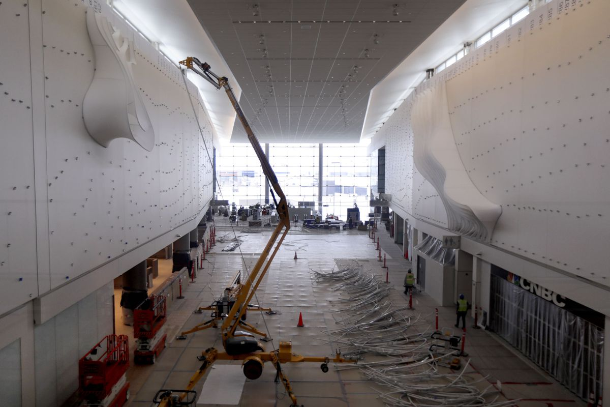 """Installation of Gordon Huether's""""The Canyon""""has started as construction continues at the new Salt Lake International Airport in Salt Lake City on Friday, May 22, 2020."""