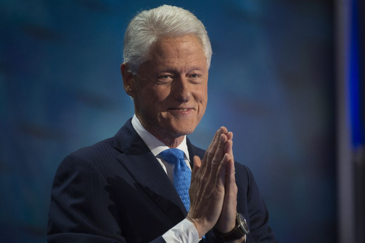 Former President Bill Clinton addresses the crowd in the Wells Fargo Center in Philadelphia, PA, on the second day of the Democratic National Convention, July 26, 2016.