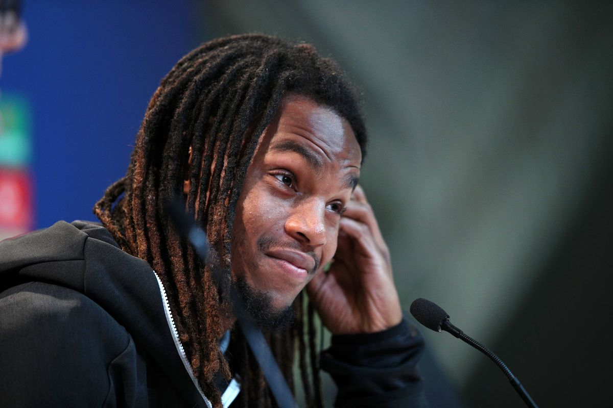 MUNICH, GERMANY - NOVEMBER 26: Renato Sanches of Bayern Munich speaks to the media during a Bayern Muenchen Press Conference at Allianz Arena on November 26, 2018 in Munich, Germany.
