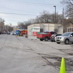 Looking north into the Blue Lot from Waveland -