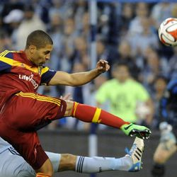 Real Salt Lake's Alvaro Saborio kicks a goal attempt during a game at Sporting Park in Kansas City, Kan., on Saturday, April 5, 2014.