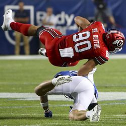 Utah Tight Near Brant Kuyt (80) Takes Over BYU Leader Zayne Anderson (23) During Utah-BYU Football Game at LaVell Edwards Stadium in Provo on Thursday, August 29, 2019.