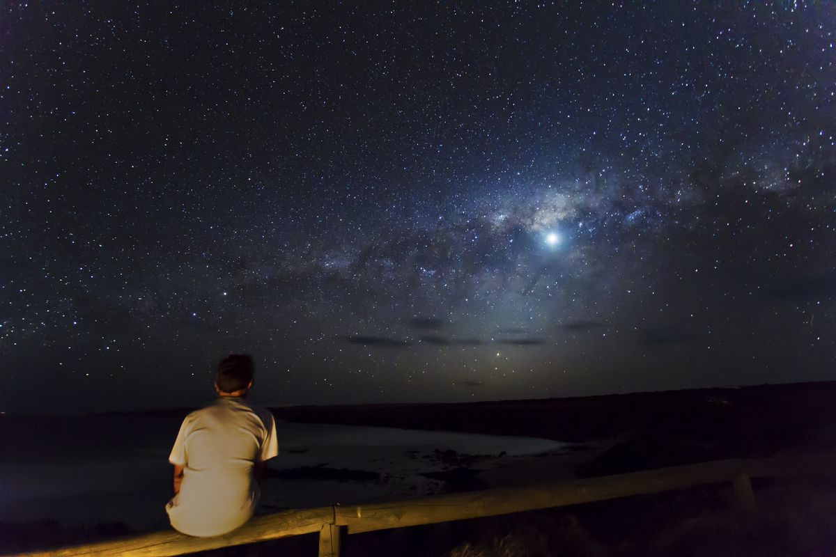 A man gazes at the Milky Way.