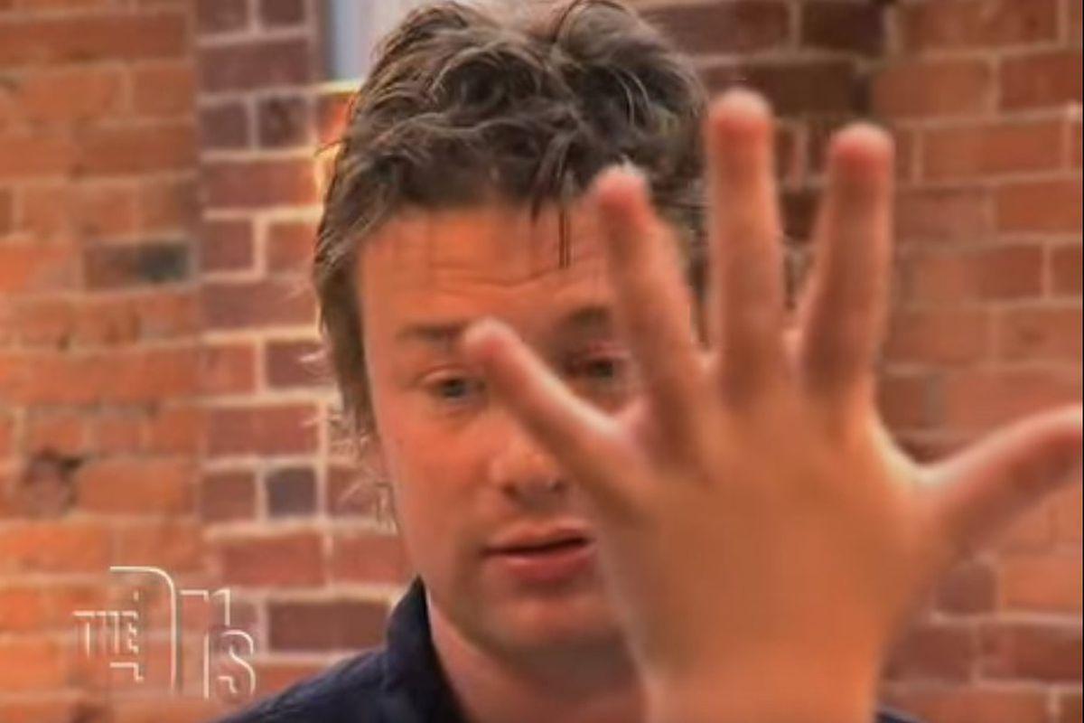 Jamie Oliver looking sad about turkey twizzlers
