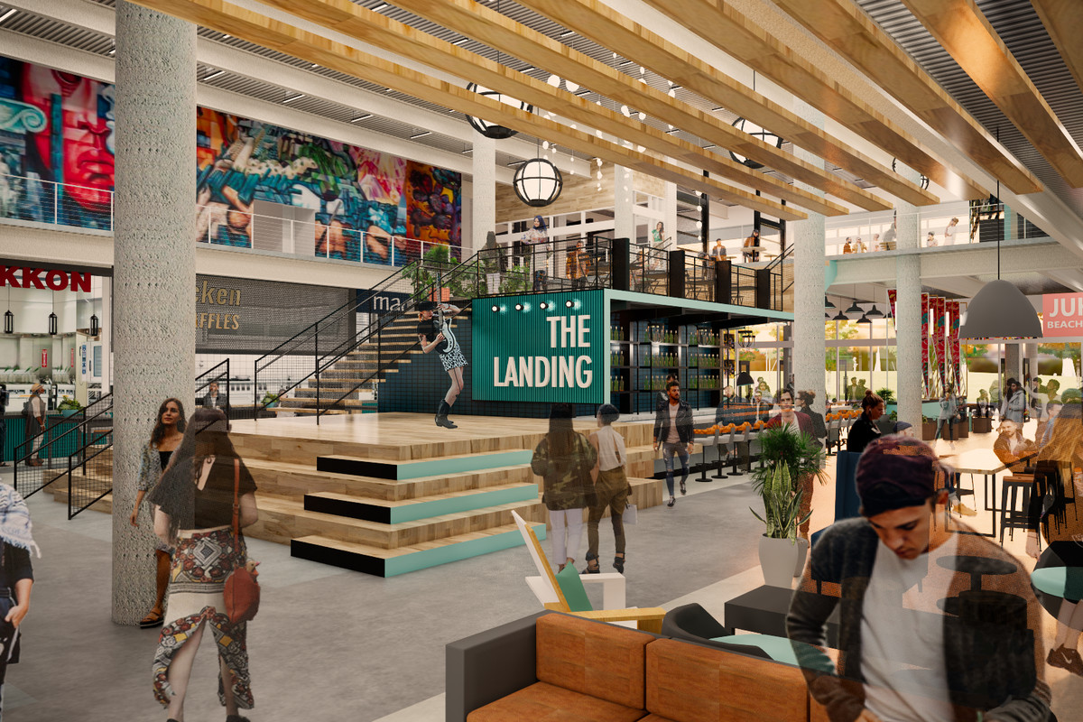 A rendering of the Oakland Assembly food hall