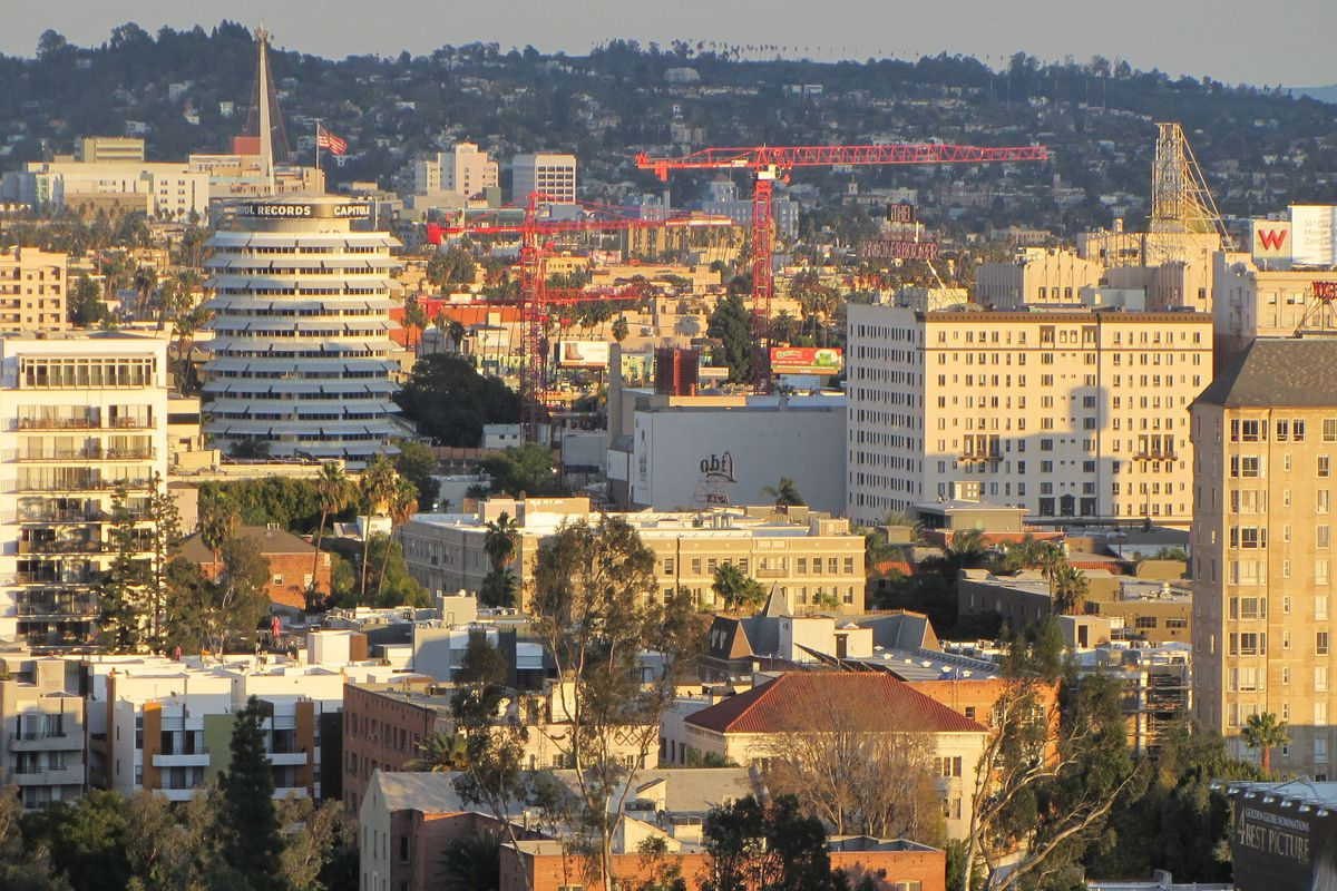 A photo of Hollywood that shows construction work happening in several areas of the neighborhood.