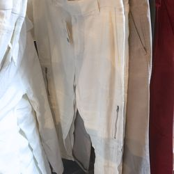 White pants with zipper detail, $89 (were $245)