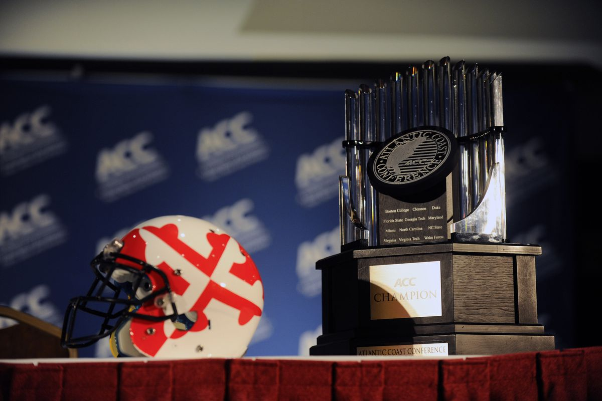 July 23, 2012; Greensboro, NC, USA; The helmet of the Maryland Terrapins and the ACC Championship trophy during the ACC media day at the Grandover Resort in Greensboro NC. Mandatory Credit: Sam Sharpe-US PRESSWIRE