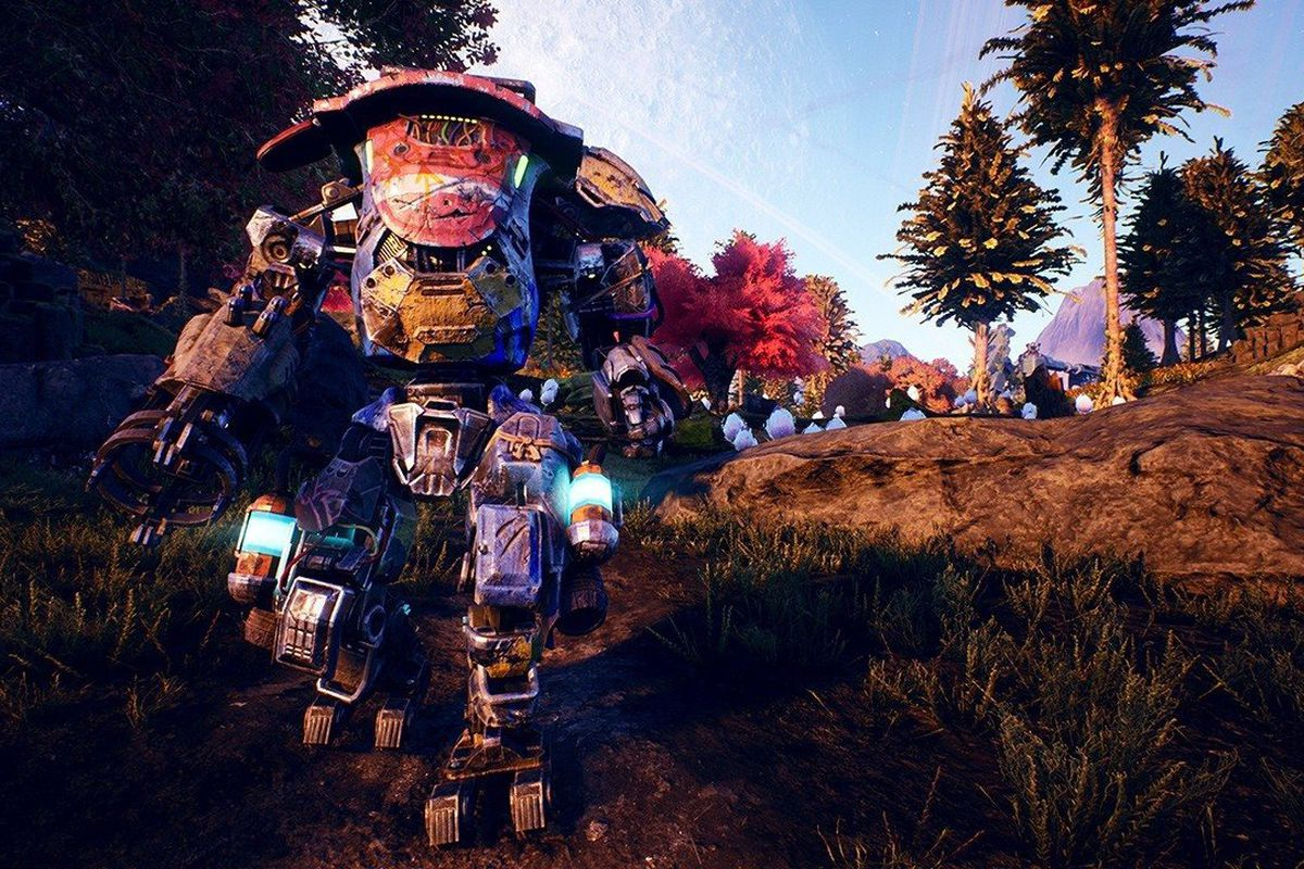 The Outer Worlds - a wandering mech patrols Edgewater