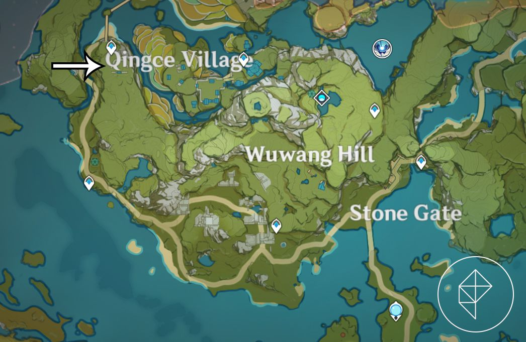 A map showing where to find the second piece of treasure