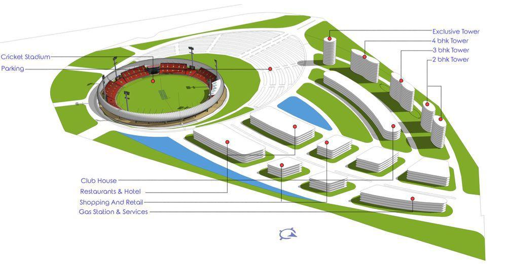 Cricket stadium rendering