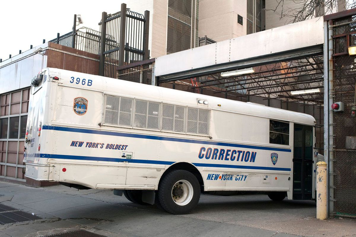 A Dept. of Correction bus heads into the Brooklyn Detention Complex on Atlantic Avenue.