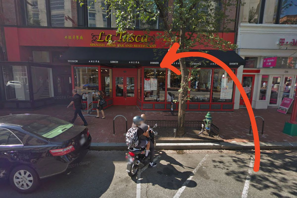 The red La Tasca facade on Seventh Street NW